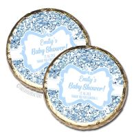 Blue Glitter Personalised Baby Shower Party Chocolate Favours x 10 pieces