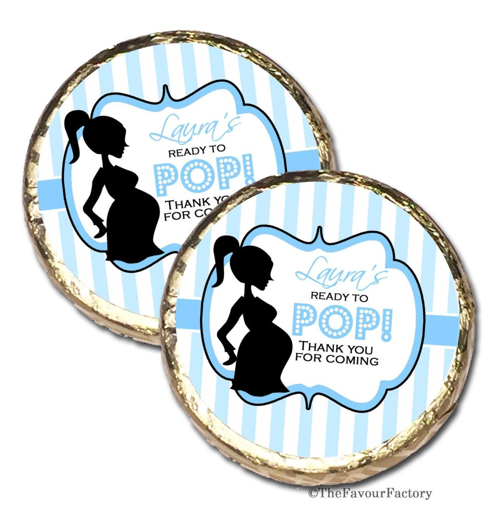 Ready to Pop Blue Personalised Baby Shower Party Chocolate Favours x 10 pie