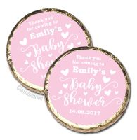 Love Hearts Pink Personalised Baby Shower Party Chocolate Favours x 10 pieces