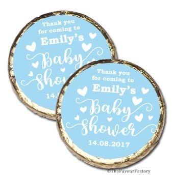 Love Hearts Blue Personalised Baby Shower Party Chocolate Favours x 10 pieces