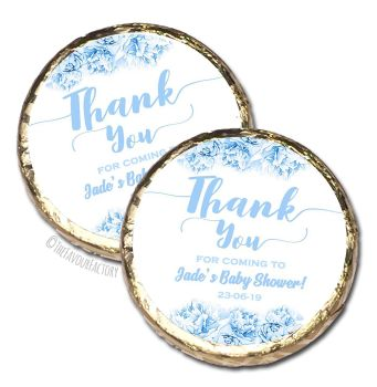 Thank you Florals Blues Personalised Baby Shower Party Chocolate Favours x 10 pieces