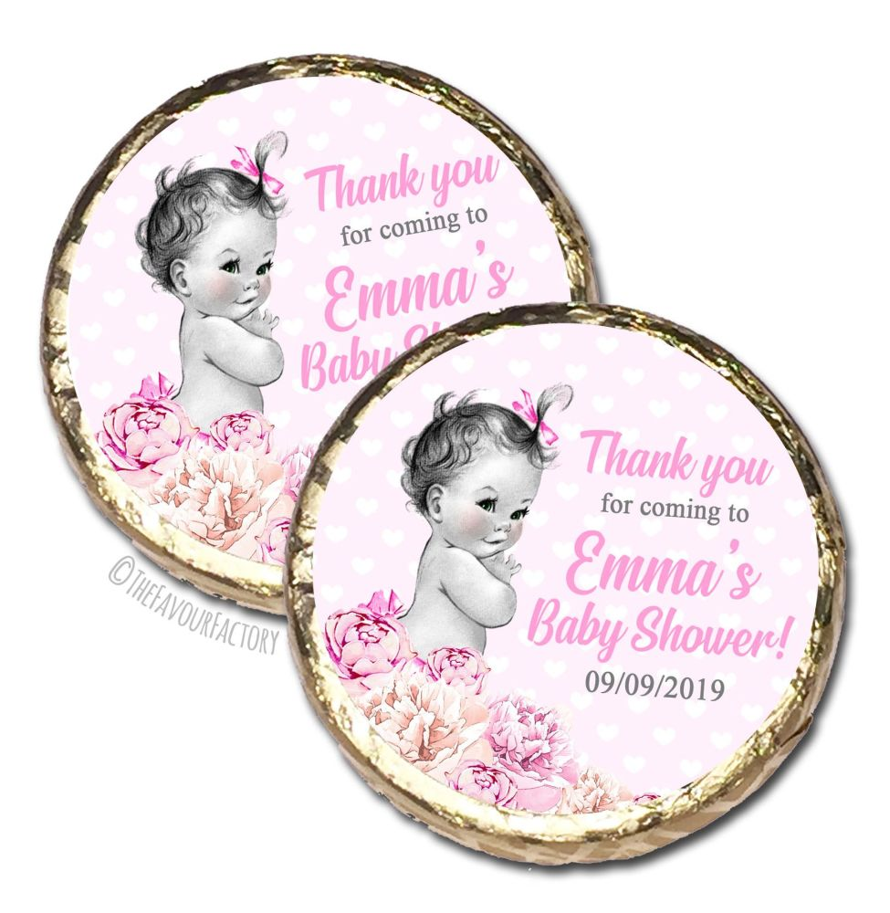 Vintage Baby Girl Florals Personalised Baby Shower Party Chocolate Favours