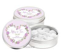 Lavender Boho Floral Heart Wreath Personalised Wedding Favour Tins Keepsakes x1