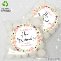 Jessica Florals Personalised Hen Night Party Sweet Bags Favours KITS x12