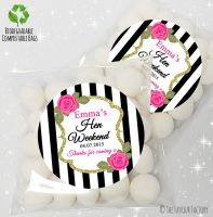 Black stripe Roses Personalised Hen Night Party Sweet Bags Favours KITS x12