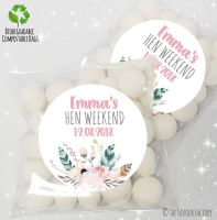 Feathers Florals Personalised Hen Night Party Sweet Bags Favours KITS x12