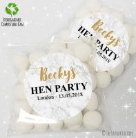 Marble Personalised Hen Night Party Sweet Bags Favours KITS x12