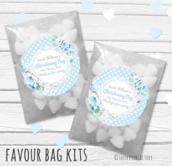 Vintage Polka Dot Florals Blue Personalised Christening Glassine Paper Favour Bag Kits x12