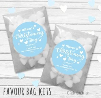 Love Hearts Blue Personalised Christening Glassine Paper Favour Bag Kits x12
