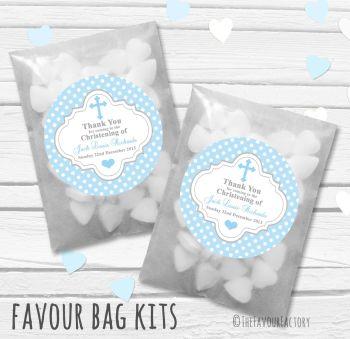 Polka Dot Cross Blue Personalised Christening Glassine Paper Favour Bag Kits x12