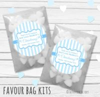 Stripes Blue Personalised Christening Glassine Paper Favour Bag Kits x12