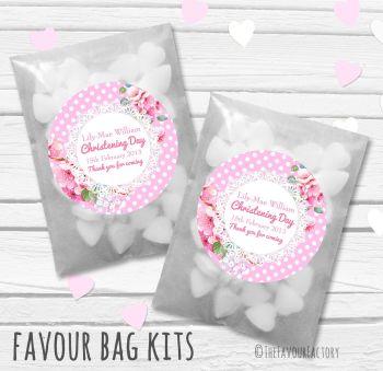 Vintage Polka Dot Florals Pink Personalised Christening Glassine Paper Favour Bag Kits x12