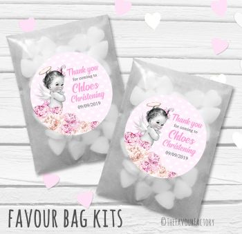 Vintage Baby Pink Florals Personalised Christening Glassine Paper Favour Bag Kits x12