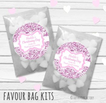 Glitter Pink Personalised Christening Glassine Paper Favour Bag Kits x12