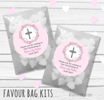 Floral Wreath Cross Pink Personalised Christening Glassine Paper Favour Bag Kits x12