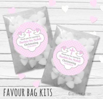 Doves Pink Personalised Christening Glassine Paper Favour Bag Kits x12