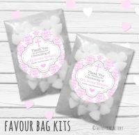 Damask Cross Pink Personalised Christening Glassine Paper Favour Bag Kits x12