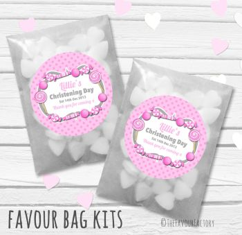 Candy Sweets Theme Pink Personalised Christening Glassine Paper Favour Bag Kits x12