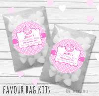 Booties Pink Personalised Christening Glassine Paper Favour Bag Kits x12