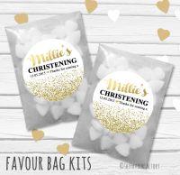 Glitter Confetti Personalised Christening Glassine Paper Favour Bag Kits x12