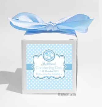 Booties Blue Personalised Christening Favour Box DIY KIT x1