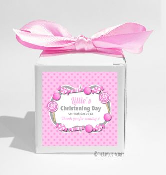 Candy Sweets Pink Personalised Christening Favour Box DIY KIT x1