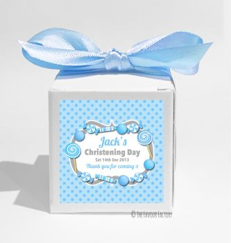 Candy Sweets Blue Personalised Christening Favour Box DIY KIT x1