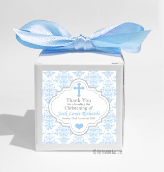 Damask Cross Blue Personalised Christening Favour Box DIY KIT x1