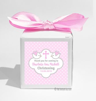 Doves in Pink Personalised Christening Favour Box DIY KIT x1