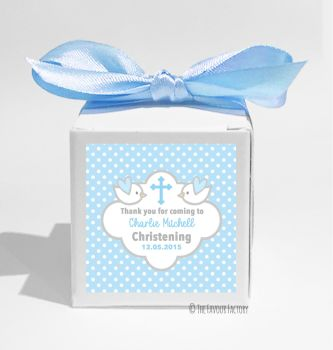 Doves in Blue Personalised Christening Favour Box DIY KIT x1