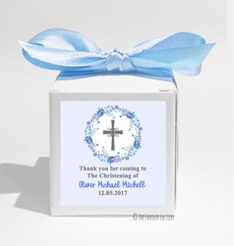 Floral Wreath Cross Blue Personalised Christening Favour Box DIY KIT x1
