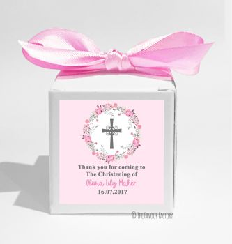 Floral Wreath Cross Pink Personalised Christening Favour Box DIY KIT x1