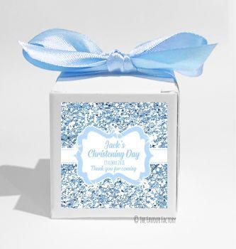 Glitter Blue Personalised Christening Favour Box DIY KIT x1