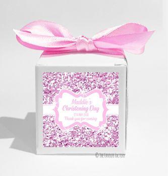 Glitter Pink Personalised Christening Favour Box DIY KIT x1