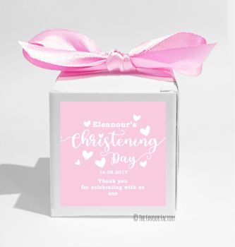 Love Hearts Pink Personalised Christening Favour Box DIY KIT x1