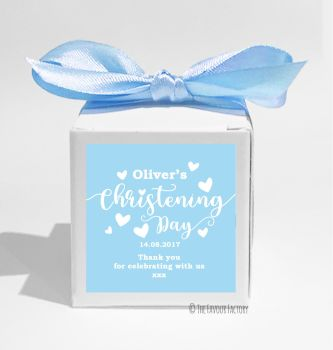 Love Hearts Blue Personalised Christening Favour Box DIY KIT x1