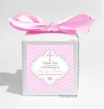 Polka Dot Cross Pink Personalised Christening Favour Box DIY KIT x1