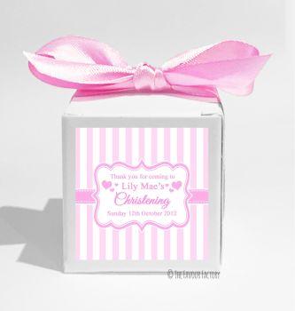 Stripes Pink Personalised Christening Favour Box DIY KIT x1
