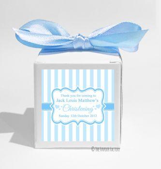 Stripes Blue Personalised Christening Favour Box DIY KIT x1