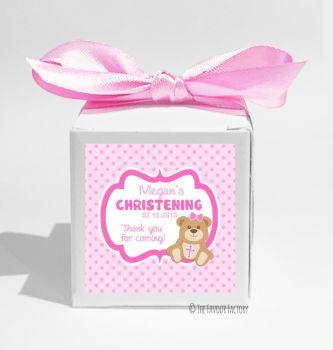 Teddy Bear Pink Personalised Christening Favour Box DIY KIT x1