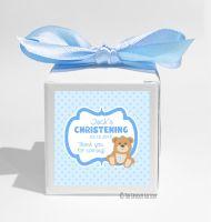 Teddy Bear Blue Personalised Christening Favour Box DIY KIT x1