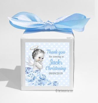 Vintage Baby Blue Florals Personalised Christening Favour Box DIY KIT x1