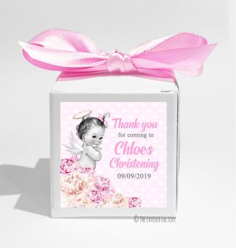 Vintage Baby Pink Florals Personalised Christening Favour Box DIY KIT x1