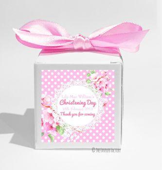 Vintage Polka Dot Lace Florals Pink Personalised Christening Favour Box DIY KIT x1