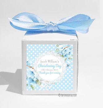 Vintage Polka Dot Lace Florals Blue Personalised Christening Favour Box DIY KIT x1