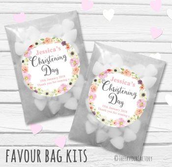 Jessica Florals Personalised Christening Glassine Paper Favour Bag Kits x12