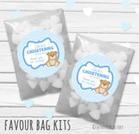 Teddy Bear Blue Personalised Christening Glassine Paper Favour Bag Kits x12