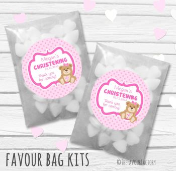Teddy Bear Pink Personalised Christening Glassine Paper Favour Bag Kits x12