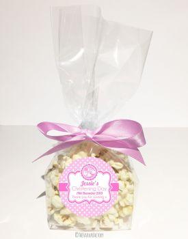 Booties Pink Personalised Christening Baptism Popcorn Sweet Bags KITS x12