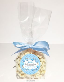 Candy Sweets Blue Personalised Christening Baptism Popcorn Sweet Bags KITS x12